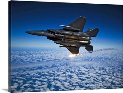 A F 15E Strike Eagle aircraft releases flares
