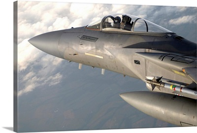 A F15 Eagle patrols the sky during a combat air patrol mission