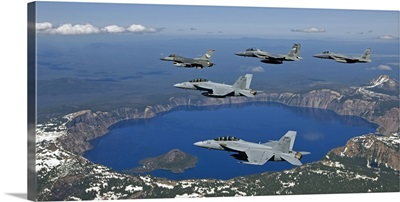 A five-ship aircraft formation flies over Crater Lake, Oregon