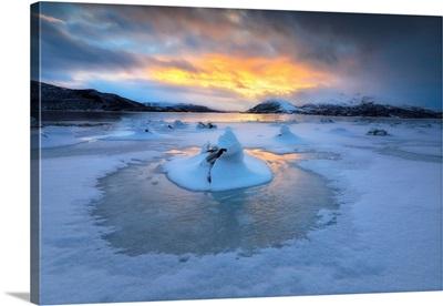 A frozen fjord that is part of Tjeldsundet in Troms County, Norway