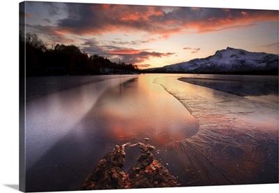 A frozen Straumen Lake on Tjeldoya Island in Nordland County, Norway