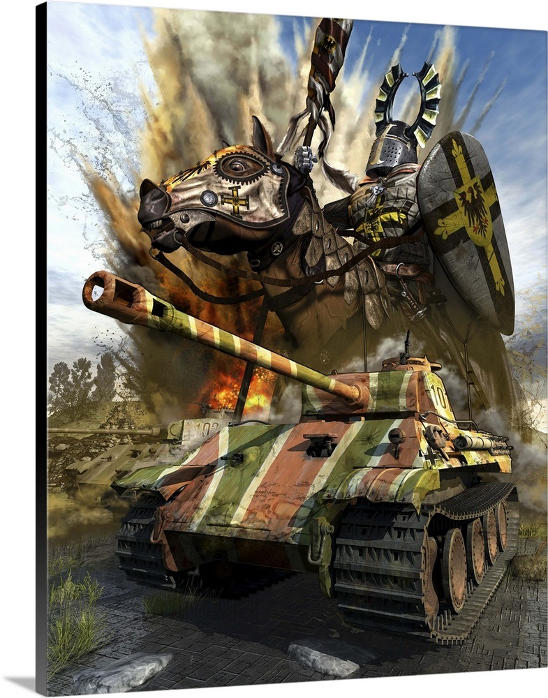 A German Panzer V medium tank with a spirtual force of the Teutonic Knight