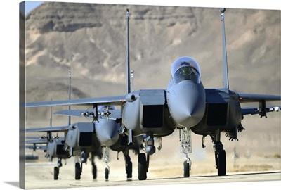 A group of F-15E Strike Eagles at Uvda Air Force Base, Israel
