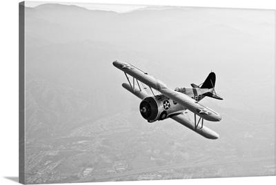 A Grumman F3F biplane in flight