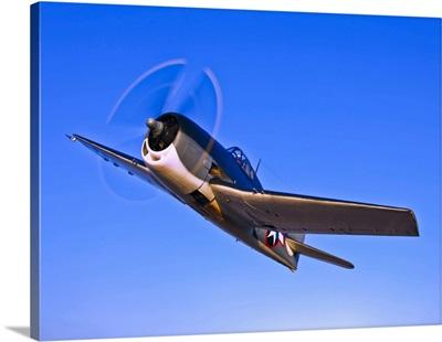 A Grumman F6F-3 Hellcat in flight near Chino, California