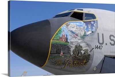 A KC135 Stratotankerdisplaying patriotic nose art