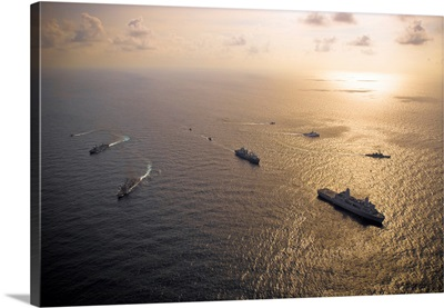 A multinational naval force navigates the waters of the Caribbean Sea