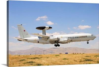 A NATO AWACS E-3A Sentry landing in Konya, Turkey