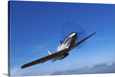 A North American P-51D Mustang in flight near Chino, California