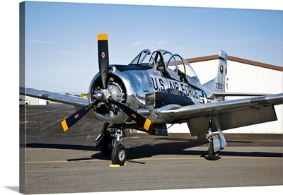 A North American T-28 Trojan military trainer aircraft