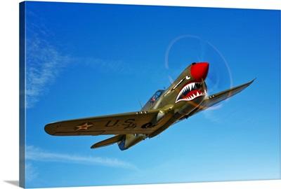 A P 40E Warhawk in flight