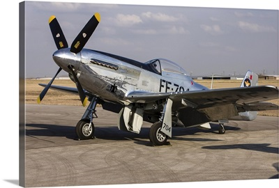 A P-51 Mustang parked on the ramp at Arlington, Texas