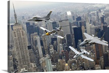 A P51 Mustang F16 Fighting Falcon F15 Eagle and A10 Thunderbolt II over NY