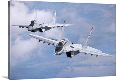 A pair of Bulgarian Air Force MiG-29s aircraft over Bulgaria