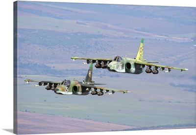 A pair of Bulgarian Air Force Sukhoi Su-25s flying over Bulgaria