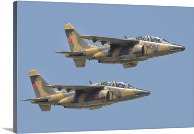 A pair of Royal Moroccan Air Force Alpha Jets in flight over Morocco