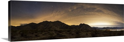 A partly coiudy sky over Borrego Springs, California