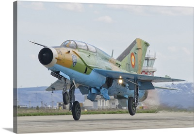 A Romanian Air Force MiG-21B taking off from Camp Turzii Air Base, Romania