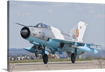 A Romanian Air Force MiG-21C taking off from Camp Turzii Air Base, Romania