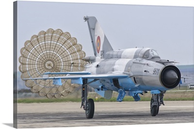 A Romanian Air Force MiG-21C with parachute deployed