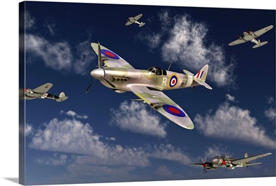 A Royal Air Force Supermarine Spitfire attacking German Heinkel He 111 bombers