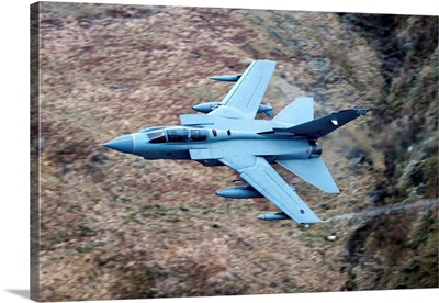 A Royal Air Force Tornado GR4 during low fly training in North Wales