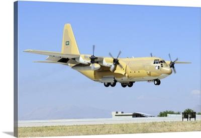 A Royal Saudi Air Force C-130H-30 Hercules landing at Konya Air Base