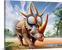 A Rubeosaurus roams a prehistoric environment