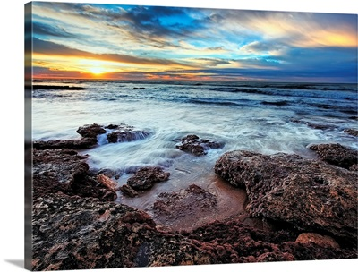 A seascape at sunrise from Miramar, Argentina