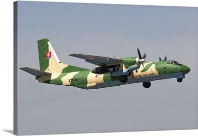 A Slovak Air Force An-26 taking off from Izmir, Turkey
