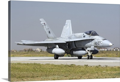 A Spanish Air Force EF-18M Hornet on the runway