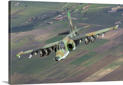 A Sukhoi Su-25s of the Bulgarian Air Force in flight over Bulgaria