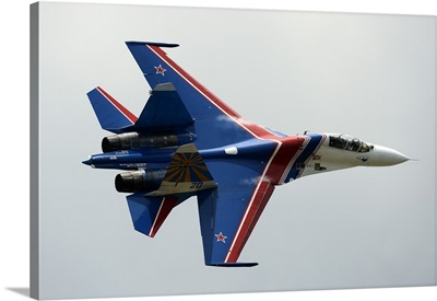 A Sukhoi Su-27 Flanker of the Russian Knights aerobatic team