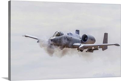 A U.S. Air Force A-10 Thunderbolt II fires its 30mm cannon