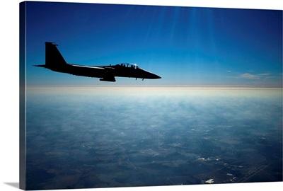 A U.S. Air Force F 15E Strike Eagle in flight over North Carolina