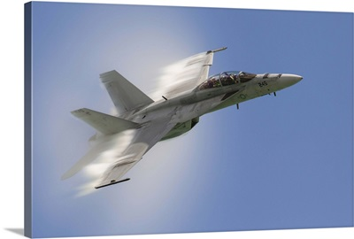 A U.S. Navy F/A-18F performs a fast pass over Chicago, Illinois