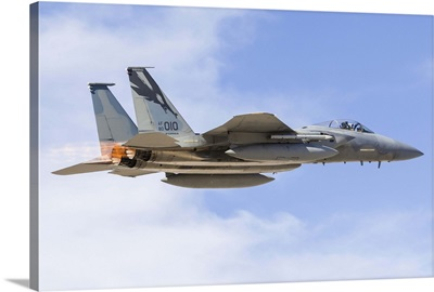 A US Air Force F-15C Eagle taking off from Nellis Air Force Base, Nevada