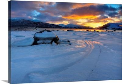 A winter sunset over Tjeldsundet at Evenskjer, Troms County, Norway