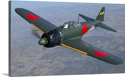 A6M Japaneese Zero flying over Chino, California