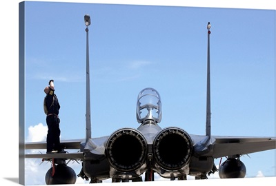 Airman checks an F-15E Strike Eagle for airframe damage
