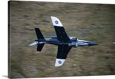 Alpha Jet of the Royal Air Force low level flying over North Wales