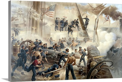 American Civil War print showing a battle between Union and Confederate ships