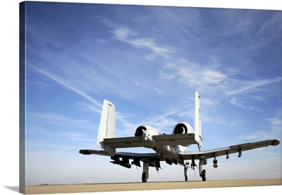 An A 10 Thunderbolt II taxies out of the hot pit at Whiteman Air Force Base, Missouri