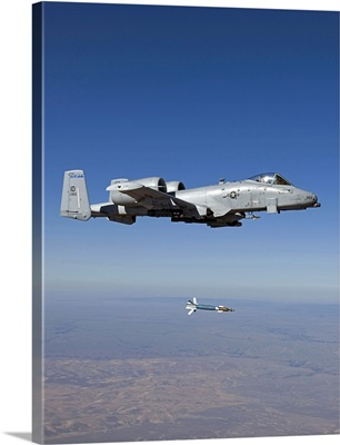 An A-10C Thunderbolt releases a GBU-12 laser guided bomb