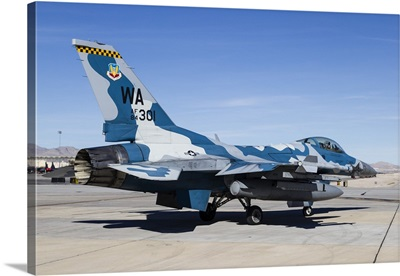 An aggressor F-16 Fighting Falcon of the US Air Force at Nellis Air Force Base