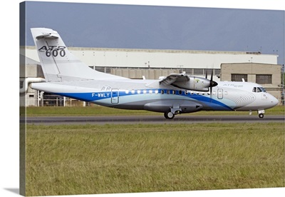 An ATR 42-600 airliner at Turin Airport, Italy