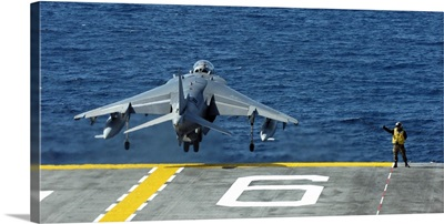 An AV-8B Harrier II launches from USS Bonhomme Richard