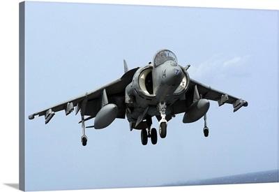 An AV-8B Harrier II  prepares for landing