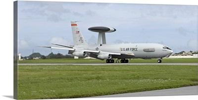 An E-3 AWACS comes in to land at Kadena Air Base, Okinawa, Japan