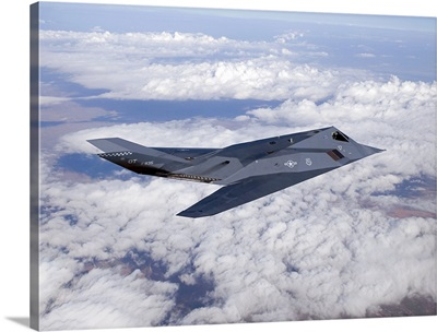 An F-117 Nighthawk stealth fighter in flight over New Mexico